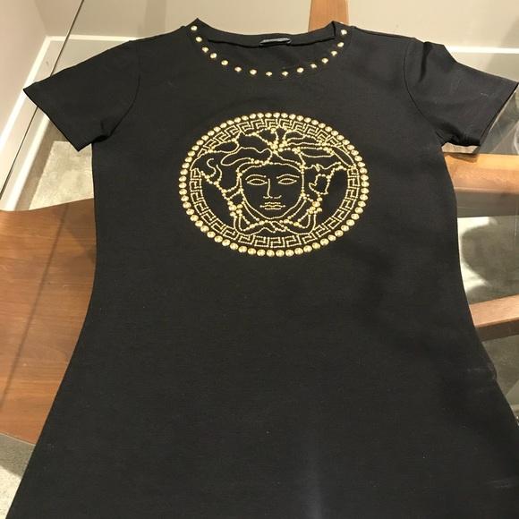 aad9718a Tops | Black Versace Medusa Head Studded Tshirt | Poshmark